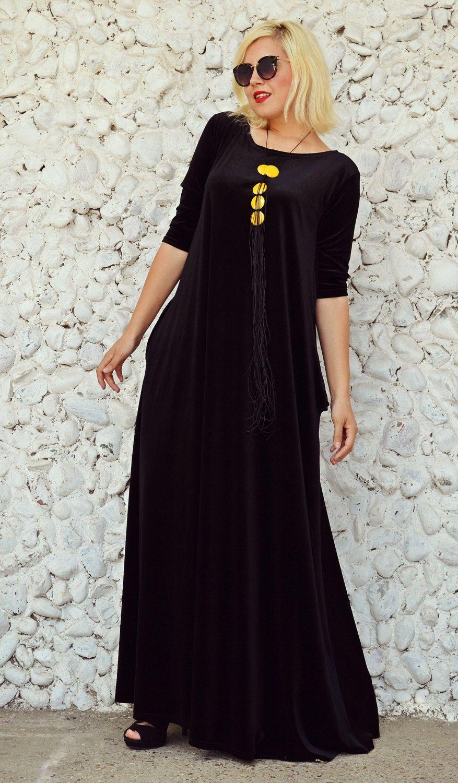 Extravagant velvet kaftan long velvet dress black velvet dress