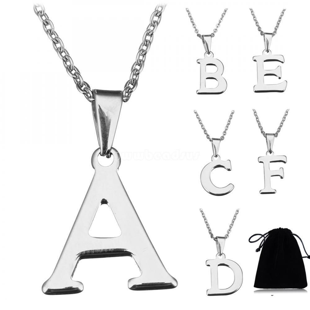 Inch az initial letter name pendants necklace silver plated with