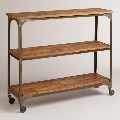 With Three Generously Sized Mango Wood Shelves And Metal Accents Like Locking Caster Wheels Our Industrial Inspired Console I Wood And Metal Furniture Shelves