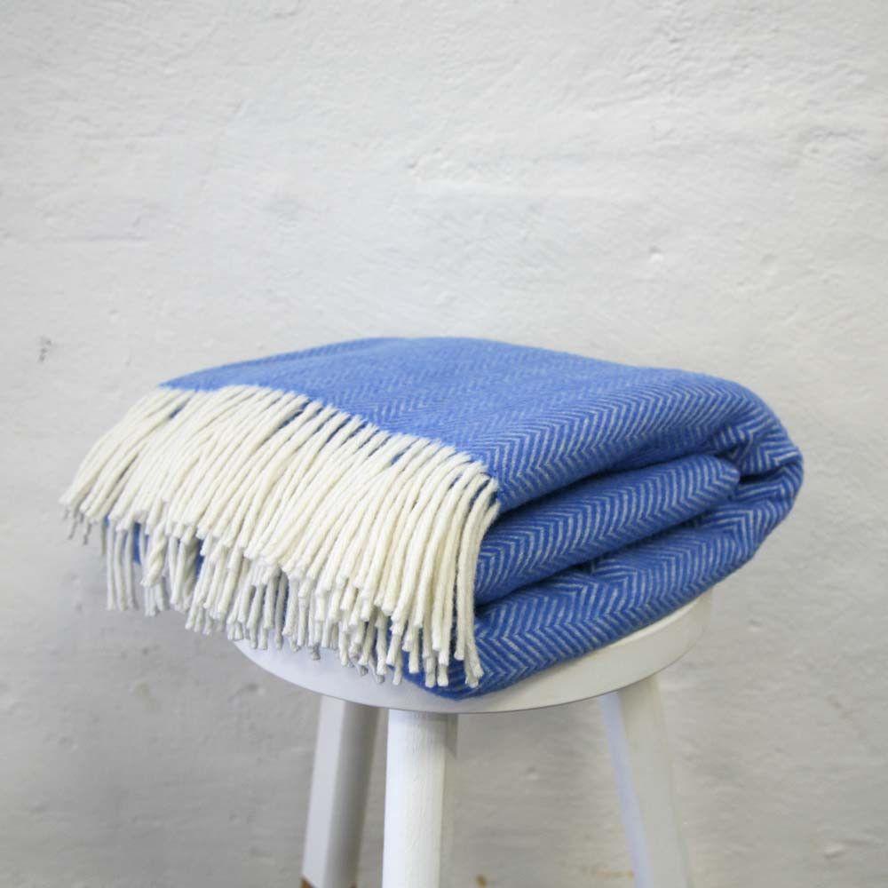 Superfine Herringbone Merino Throw Blue | The Society inc. by Sibella Court