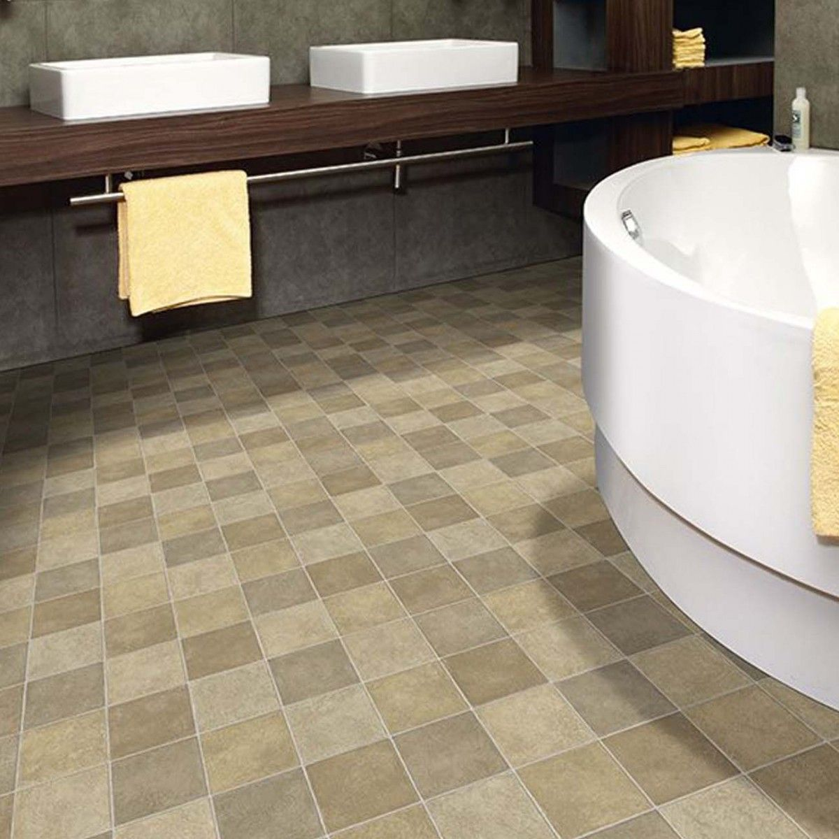 Our Vinyl Floor Has Square Shaped Blocks In Varied Hues That Resemble The Real Tile Each Measuring 33 33cm Bathroom Vinyl Vinyl Flooring Luxury Vinyl Flooring