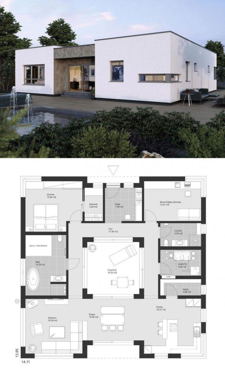 Bauhaus bungalow architektur modern grundriss mit innenhof flachdach  zimmer einfamilienhaus ebenerdig bauen ideen elk von fertighaus also best houses images in rh pinterest
