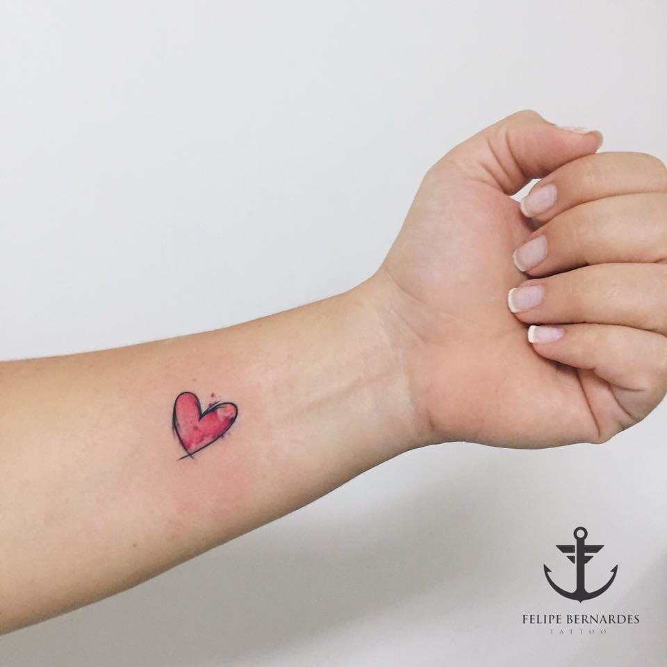 Watercolor little heart tattoo heart tattoos ideas for Small heart tattoos