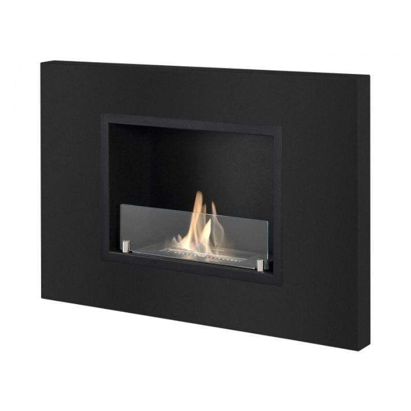 Ignis Quadra Recessed Ethanol Fireplace with Front Glass – Black