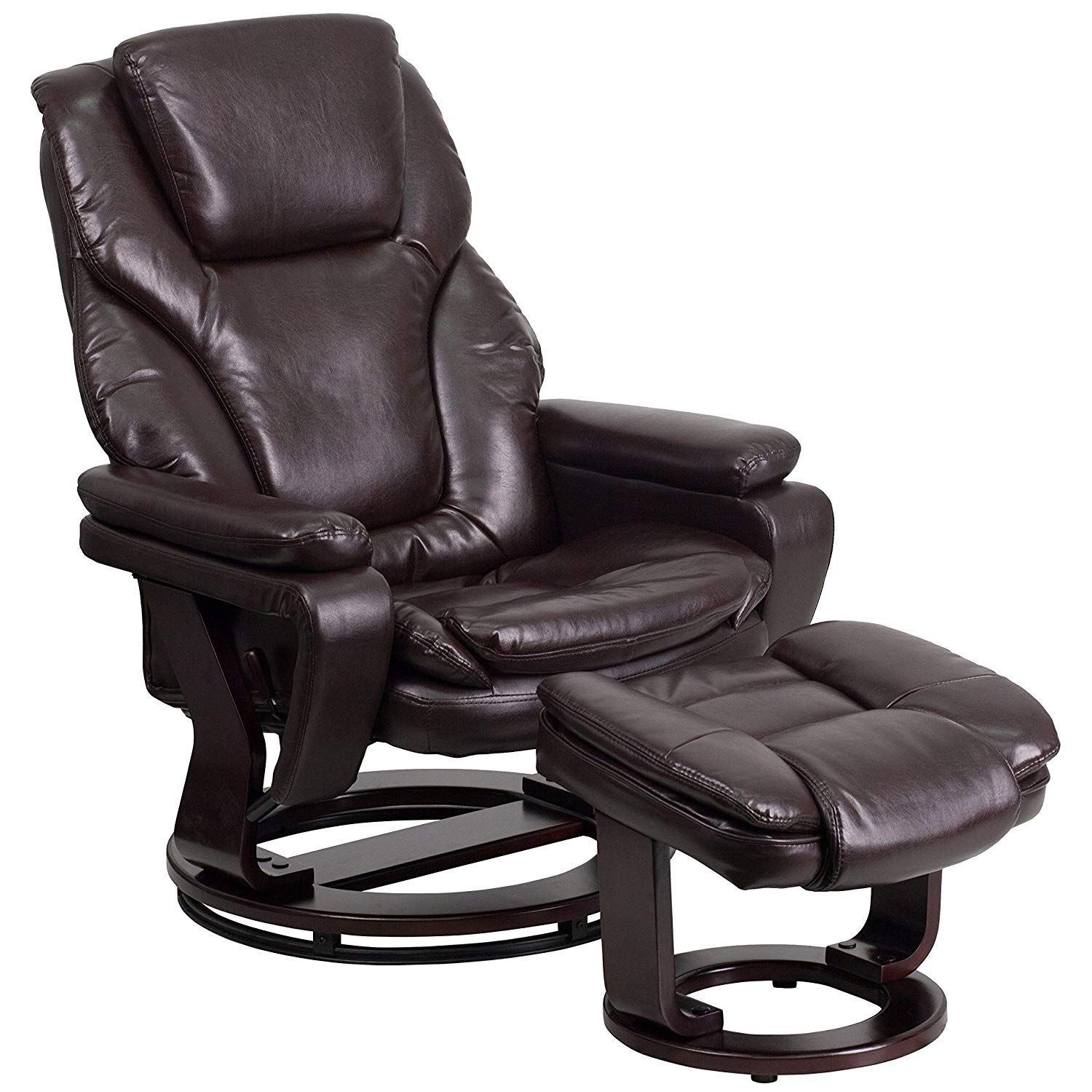 MFO Contemporary Brown Leather Recliner and Ottoman with