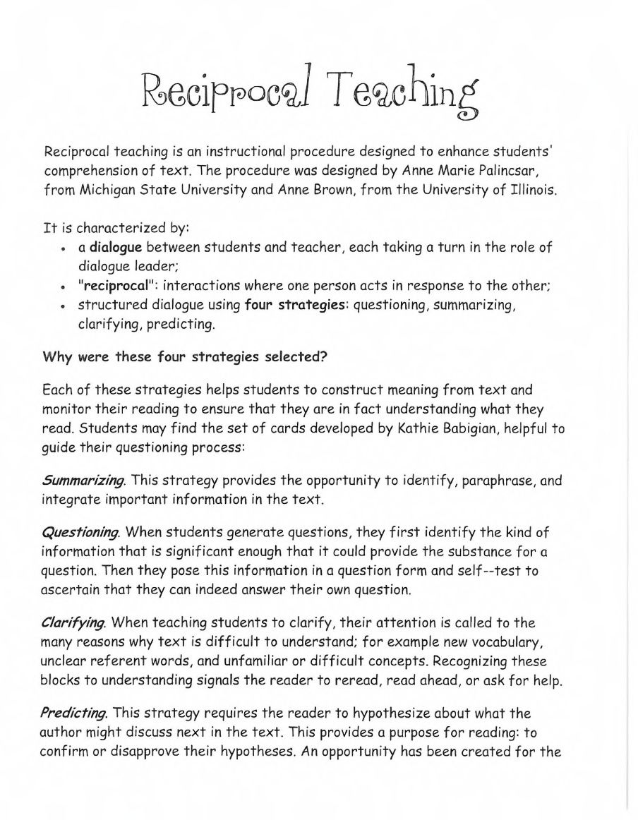Reciprocal Teaching Handouts  Reading    Reciprocal