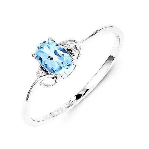 Sterling Silver Sky Blue Topaz Oval and Diamond Ring Oval rings