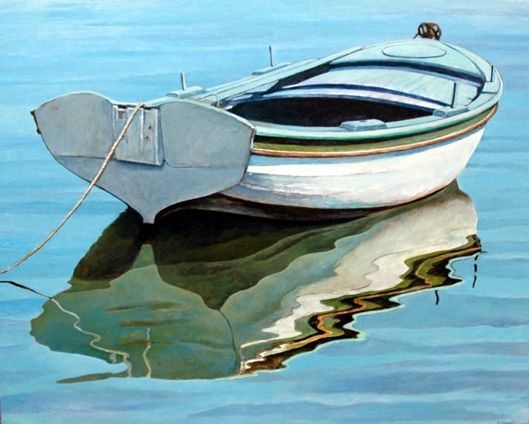 Very Realistic row boat in the water painting. | Sailing paintings  ZJ38