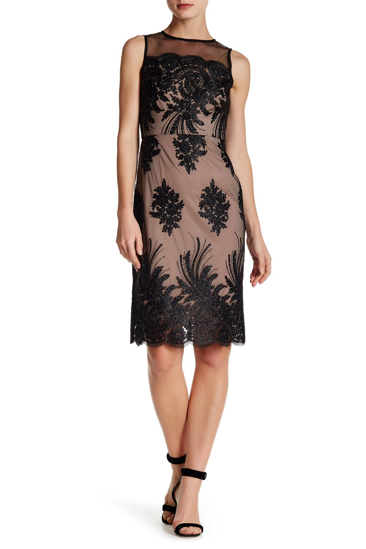 Sheer Embroidered Illusion Dress