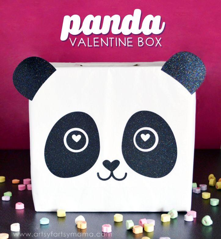 Panda Valentine Card Box at artsyfartsymamacom  Valentines
