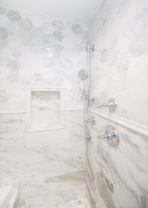 Luxury Master Bathroom With Marble Tile Marble Wainscot Marble Hexagon Tile Shower Niche Luxury Master Bathrooms Shower Niche Glass Shower Doors Frameless