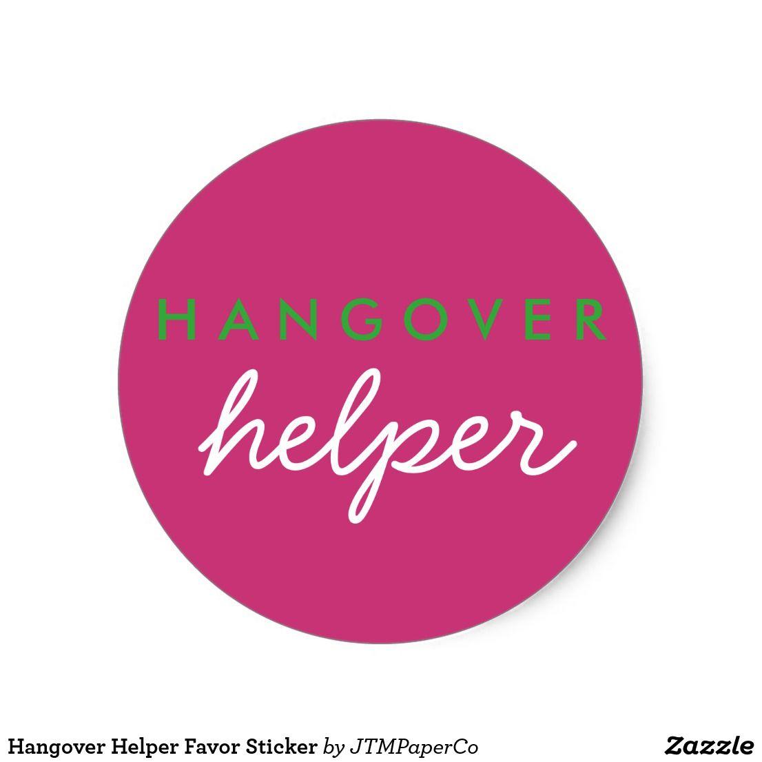 Hangover Helper Favor Sticker | Hangover helpers, Bachelorette ...