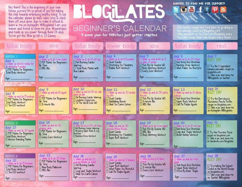 Love it. Blogilates beginners workout calendar | Wellness ...