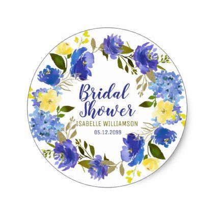 Purple blue and yellow floral bridal shower classic round sticker round stickers bridal showers and wedding stickers
