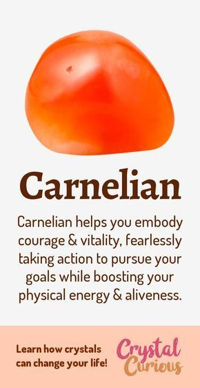 Carnelian Meaning & Healing Properties. Carnelian is a common variety of quartz that is a reddish-orange color. Its healing properties are to support your physical vitality, willpower, and sexuality. Learn about healing crystals at CrystalCurious.com | Gems, Gemstones | #crystalhealing #crystals #gemstones #newage