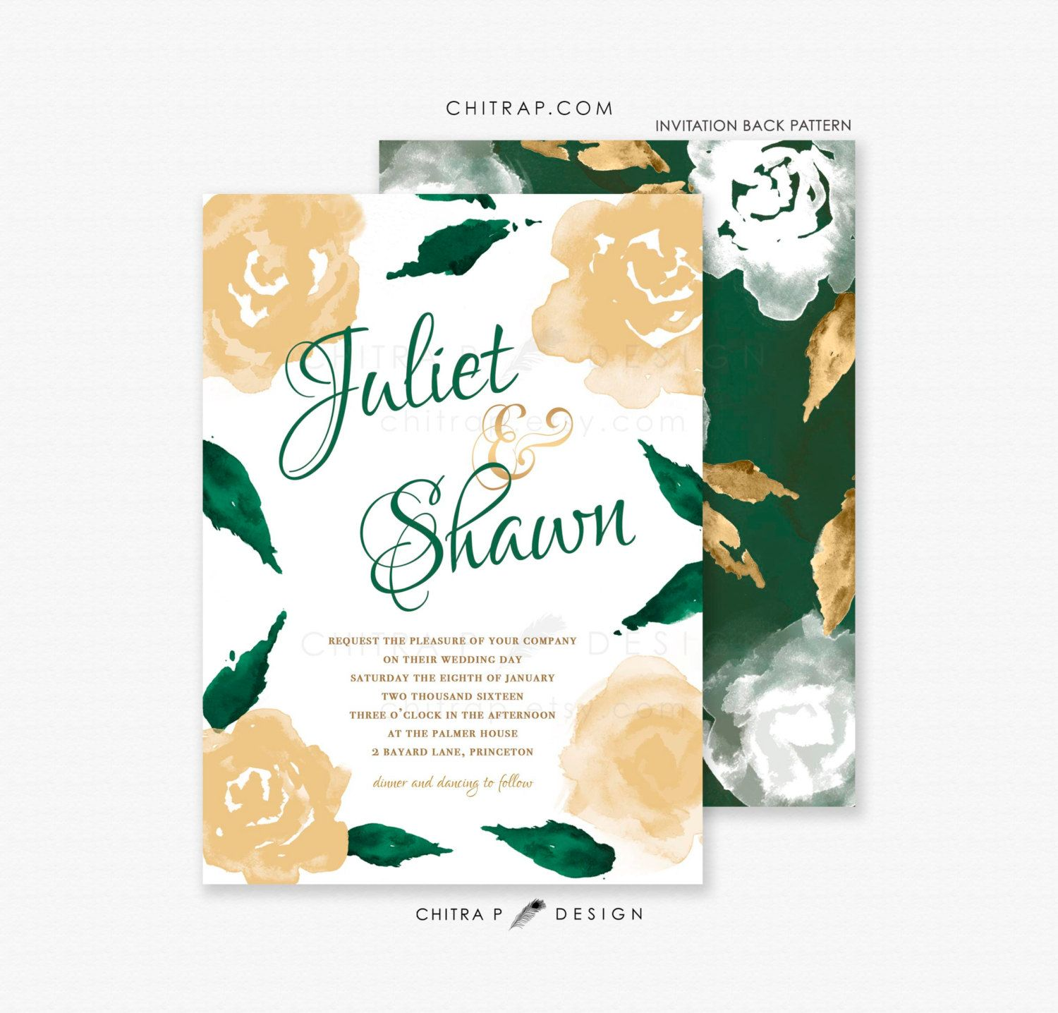 Green Gold Wedding Invitations Printed White Watercolor