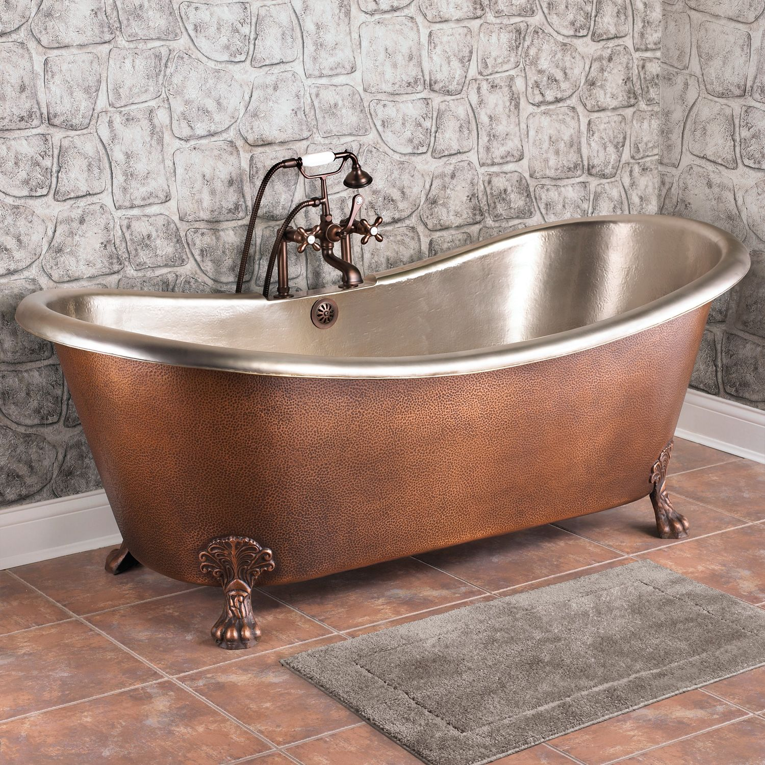 72 Isabella Hammered Copper Double Slipper Bathtub With Nickel