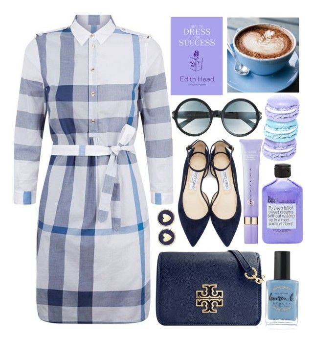 """""""Check, please!!!"""" by alaria ❤ liked on Polyvore featuring Burberry, Jimmy Choo, Tom Ford, Tory Burch, Brooks Brothers, Not Soap, Radio, Tatcha, Lauren B. Beauty, shirtdress and check"""