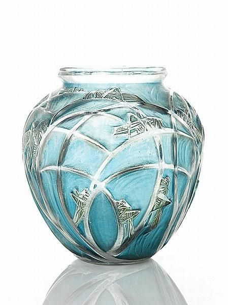 Lalique 'Sauterelles' No. 888 clear, green and blue stained vase, of ovoid form, moulded in low relief with an all over design of grasshoppers with long grasses