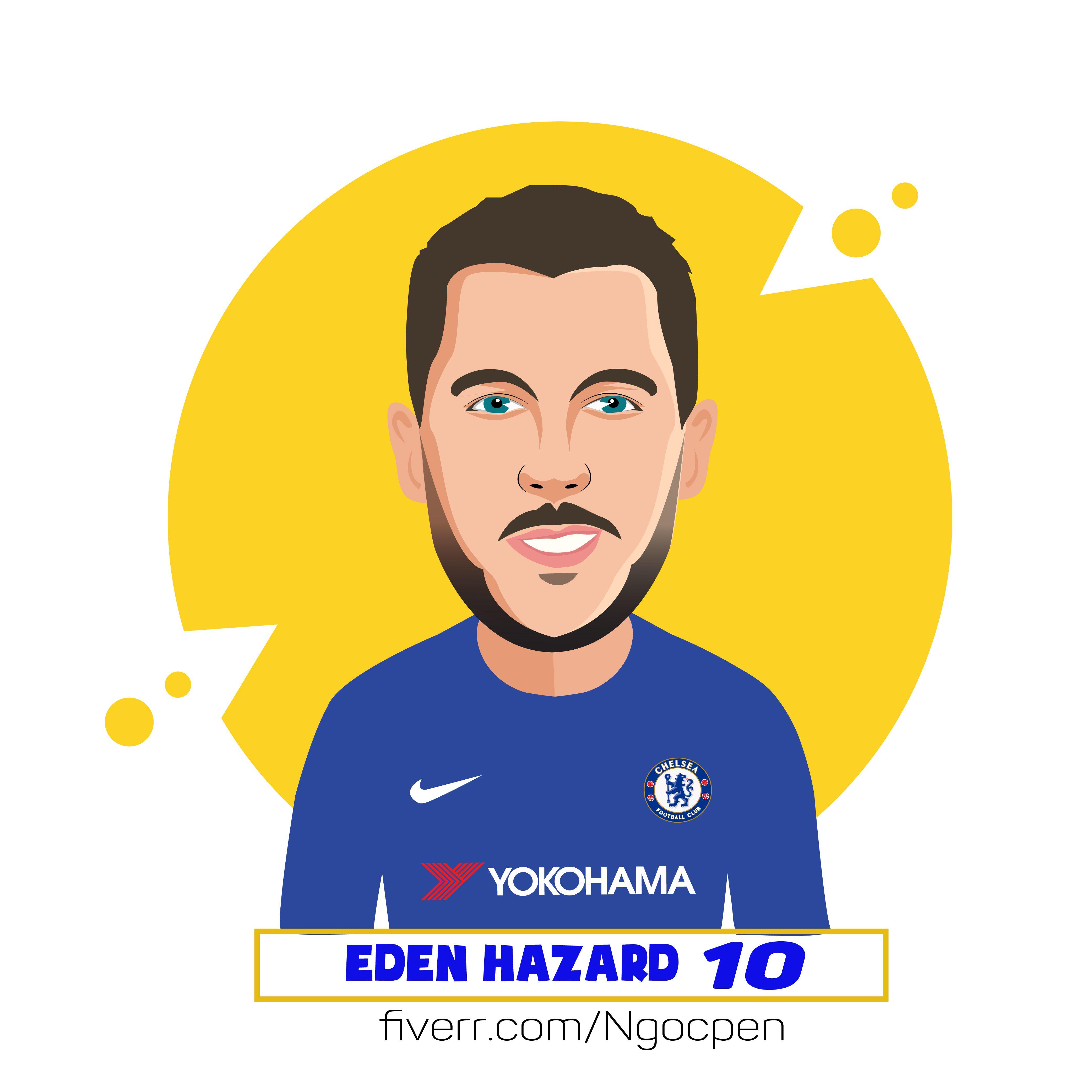 6c9ff14f3 Eden Hazard style cartoon portrait