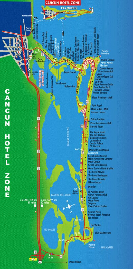 Cancun Hotel Zone Map | Tulum, Mexico in 2019 | Cancun hotels ... on
