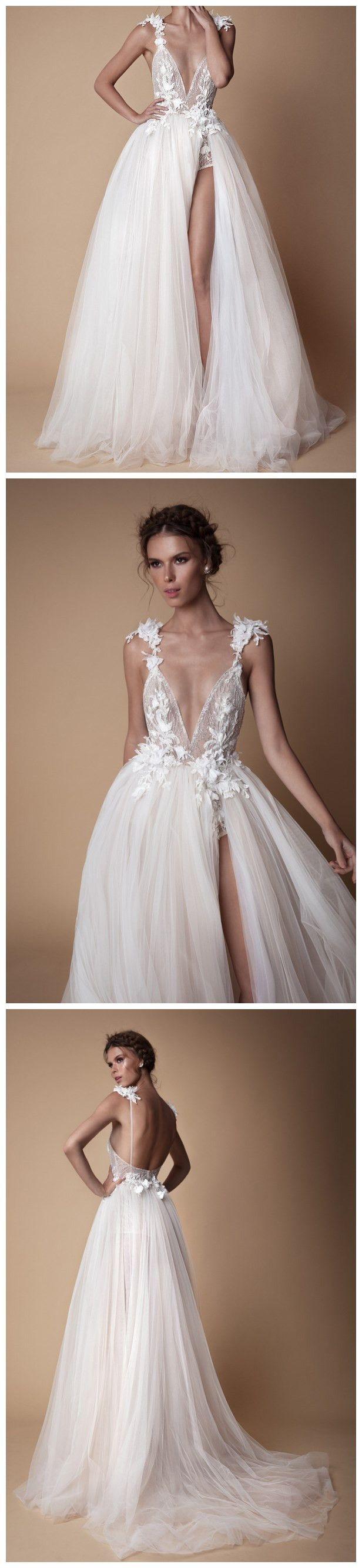 Chic deep v neck prom dress aline tulle lace elegant prom dresses