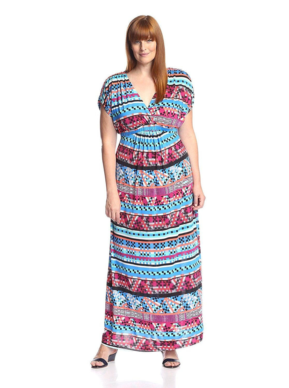 Tbagslosangeles plus short sleeve vneck surplice maxi dress see