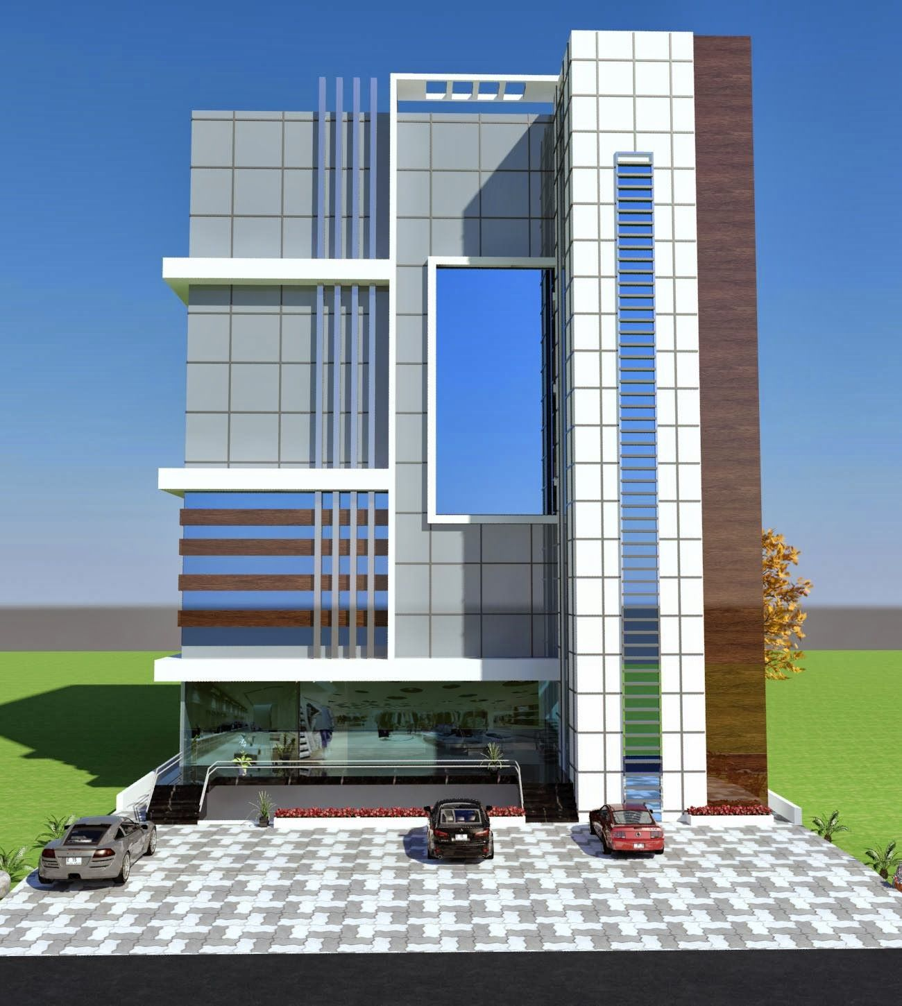 Front Elevation Of Small Commercial Buildings : Commercial plaza plan d front elevation in porposal