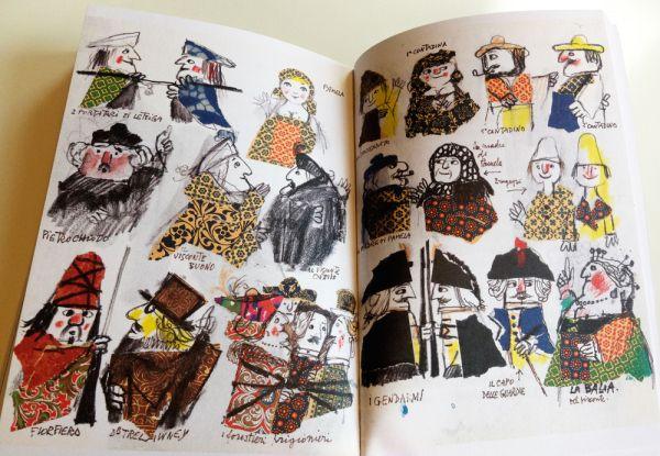 page spread illustrated by Emanuele Luzzati from Italo Calvino's: Il visconte dimezzato.