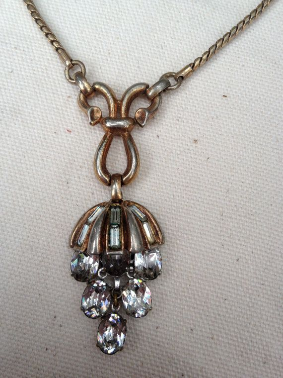 Early Vintage Trifari rhinestone drop necklace by thejunkdiva, $48.00