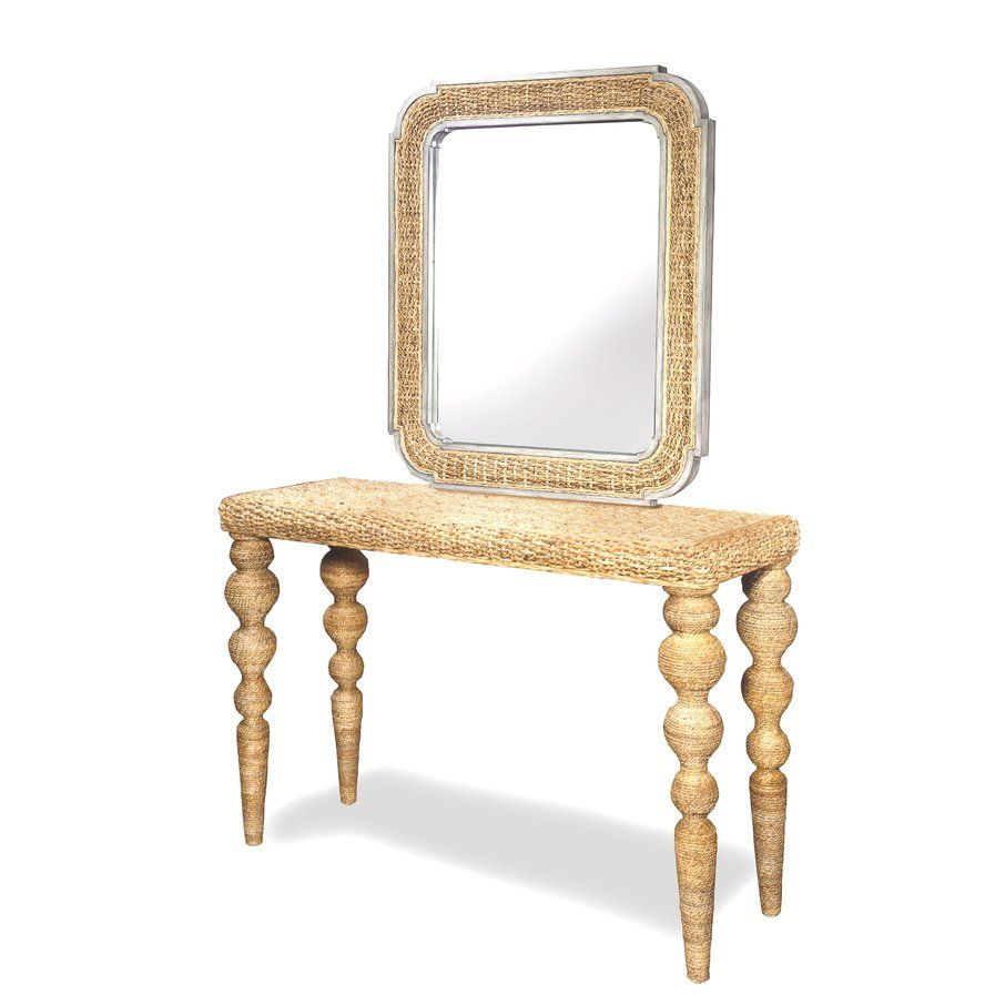 Glass console table with mirror wall mirror  farmhouse chic  pinterest  walls