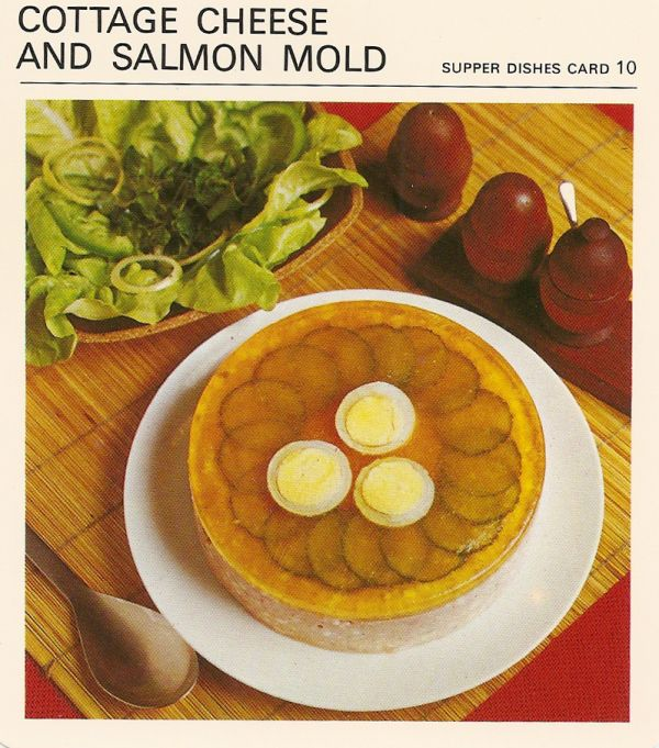 Cottage cheese and salmon mold gelatin aspic vintage recipe card bad and ugly of retro food canadian gut bombs recipe cards forumfinder Gallery