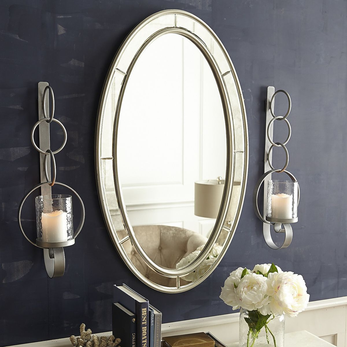 Hearst Antiqued Silver Oval Mirror | Pier 1 Imports