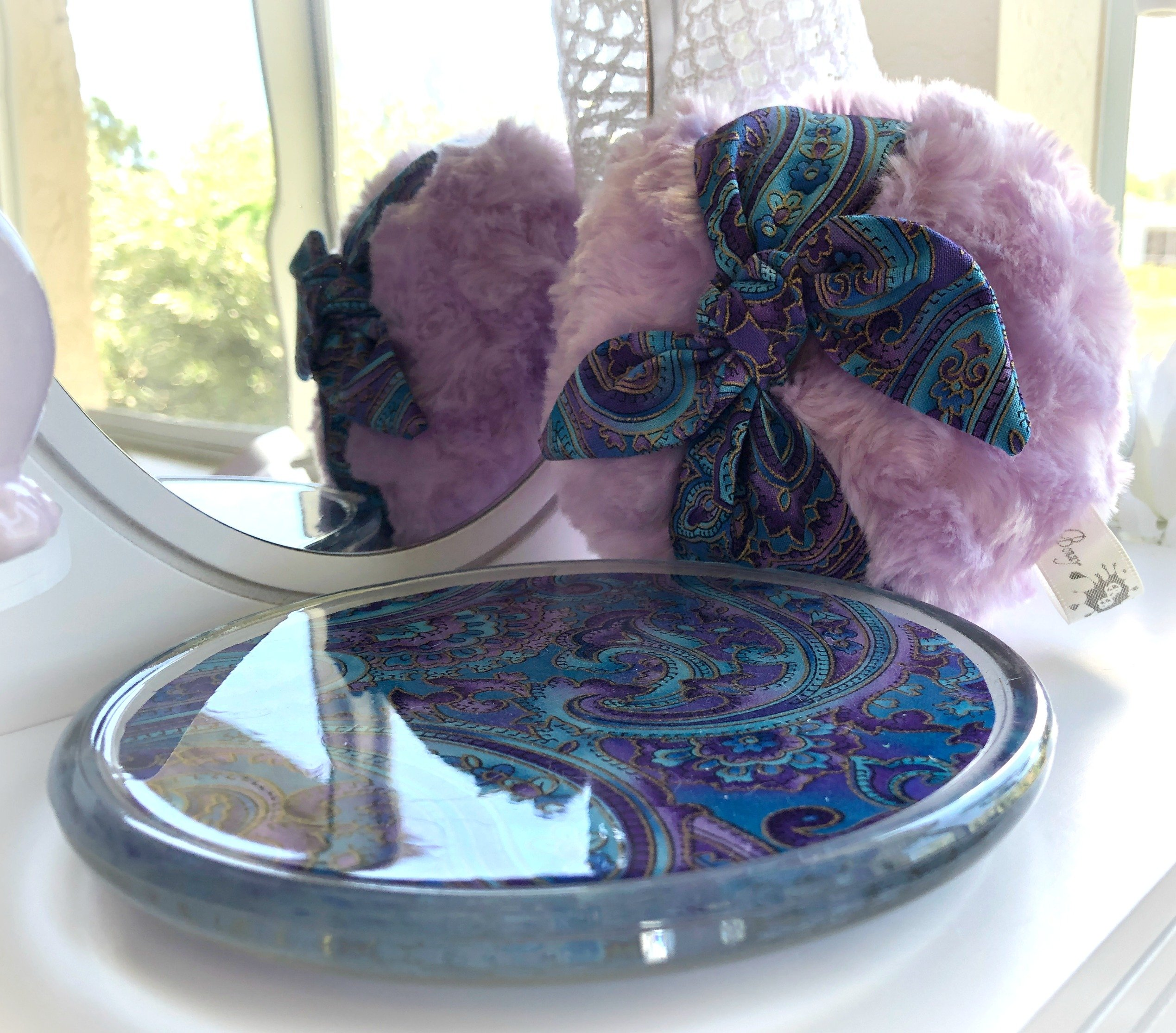 Powder Puff and Glass Dish Set Large 5 inch pouf with