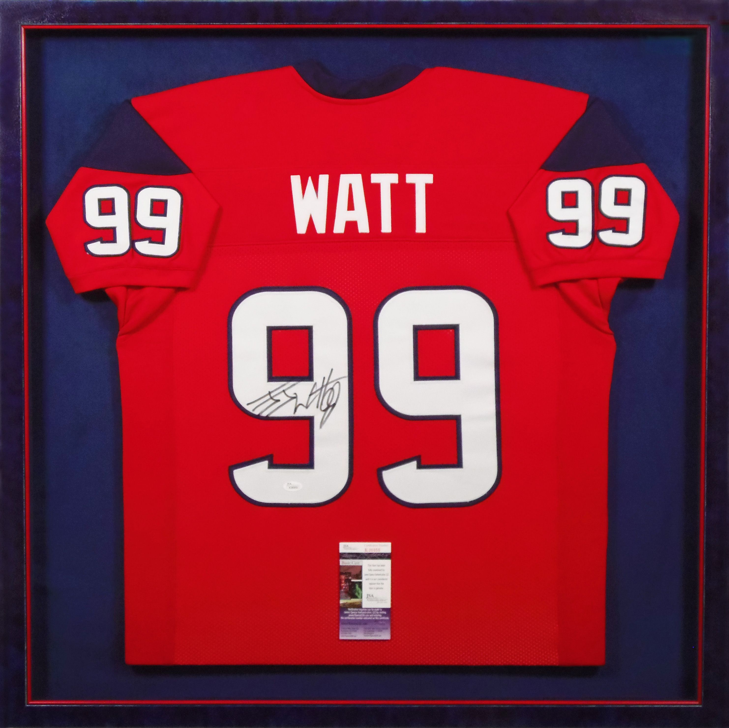 custom framed signed jj watt football jersey surrounded by the houston texans colors designed