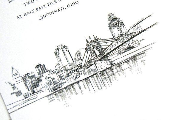 Cincinnati Skyline Wedding Invitation Cincinnati Wedding Invite