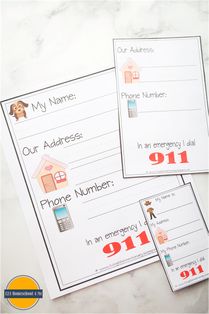 Free Name Address Phone Number Printables Does Your Child Know