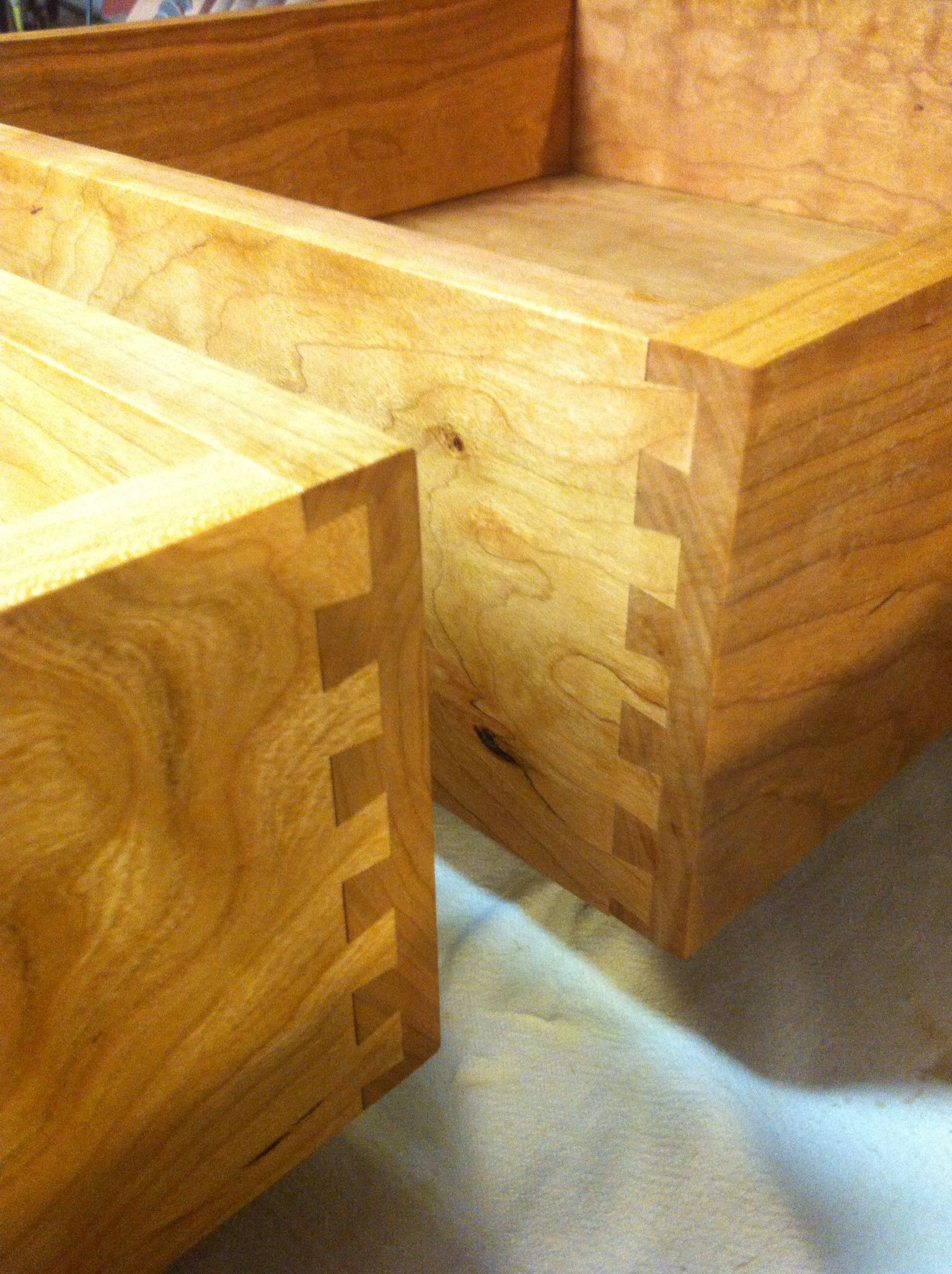 Cherry dovetail drawers.
