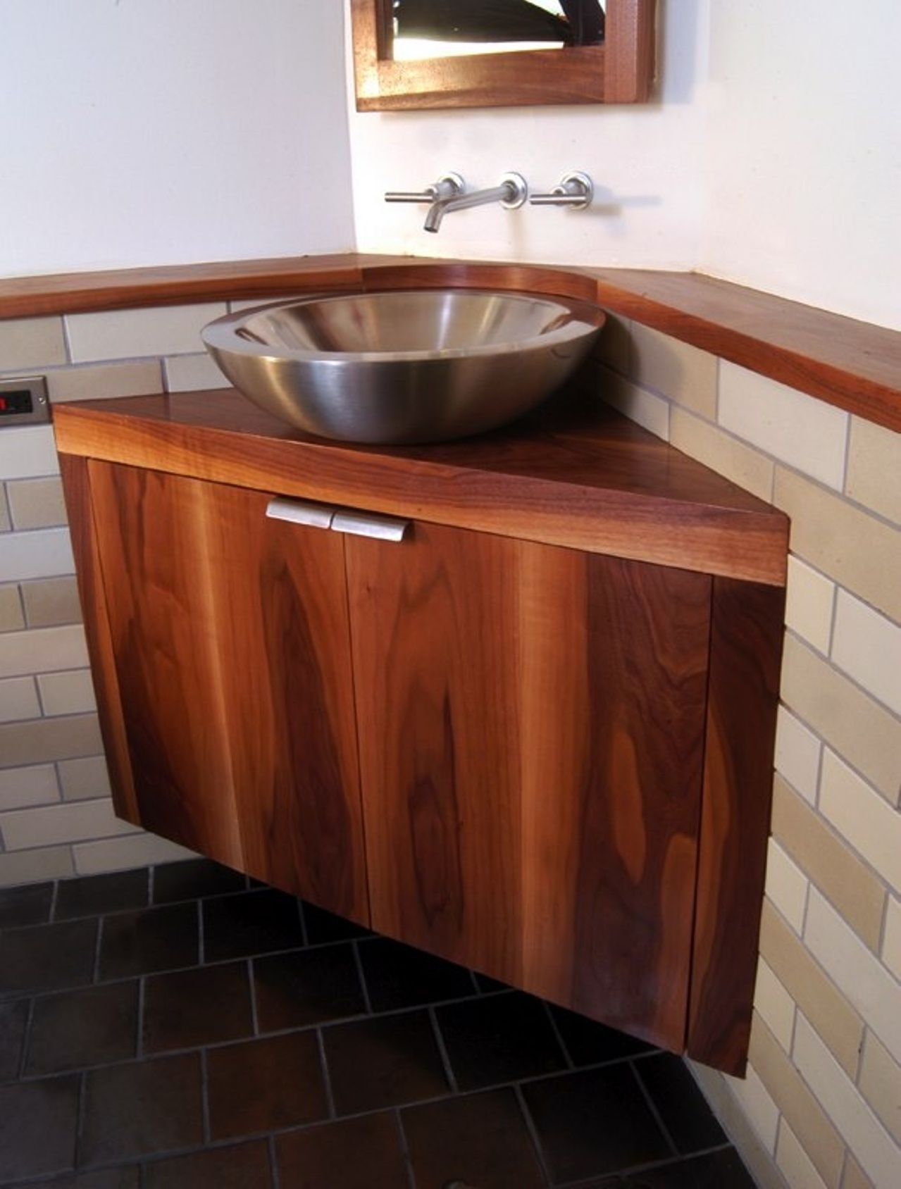 Awesome Brown Wood Corner Bathroom Vanity With Silver Vessel Sink