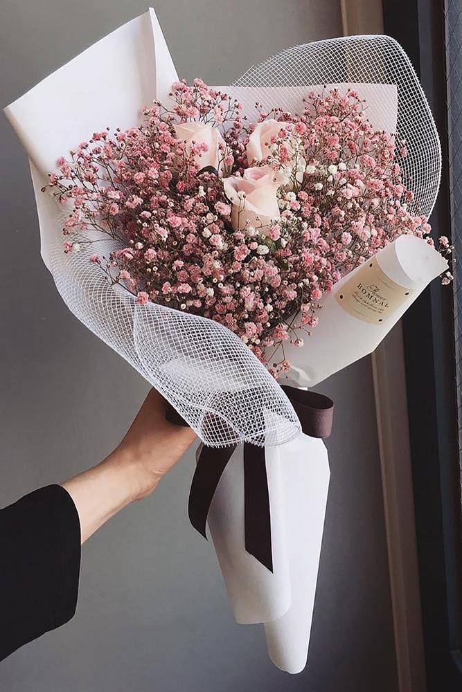 42 Soft Pink Wedding Bouquets To Fall In Love With ❤ pink wedding bouquets pink baby breath and roses in paper with ribbon flower.bomnal #weddingforward #wedding #bride #bridalbouquets #pinkweddingbouquets
