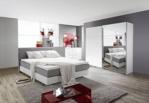 Schlafzimmer Komplett Set weiss mit Boxspringbett 140x200cm+ - schlafzimmer komplett