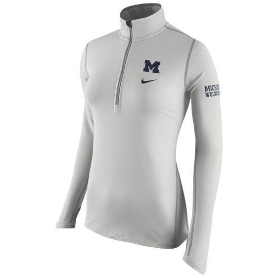 Ladies Sweatshirts Fleece Nike University of Michigan Ladies Gray Tailgate  Element Dri-FIT 1 2 Zip Top 532a8fa71
