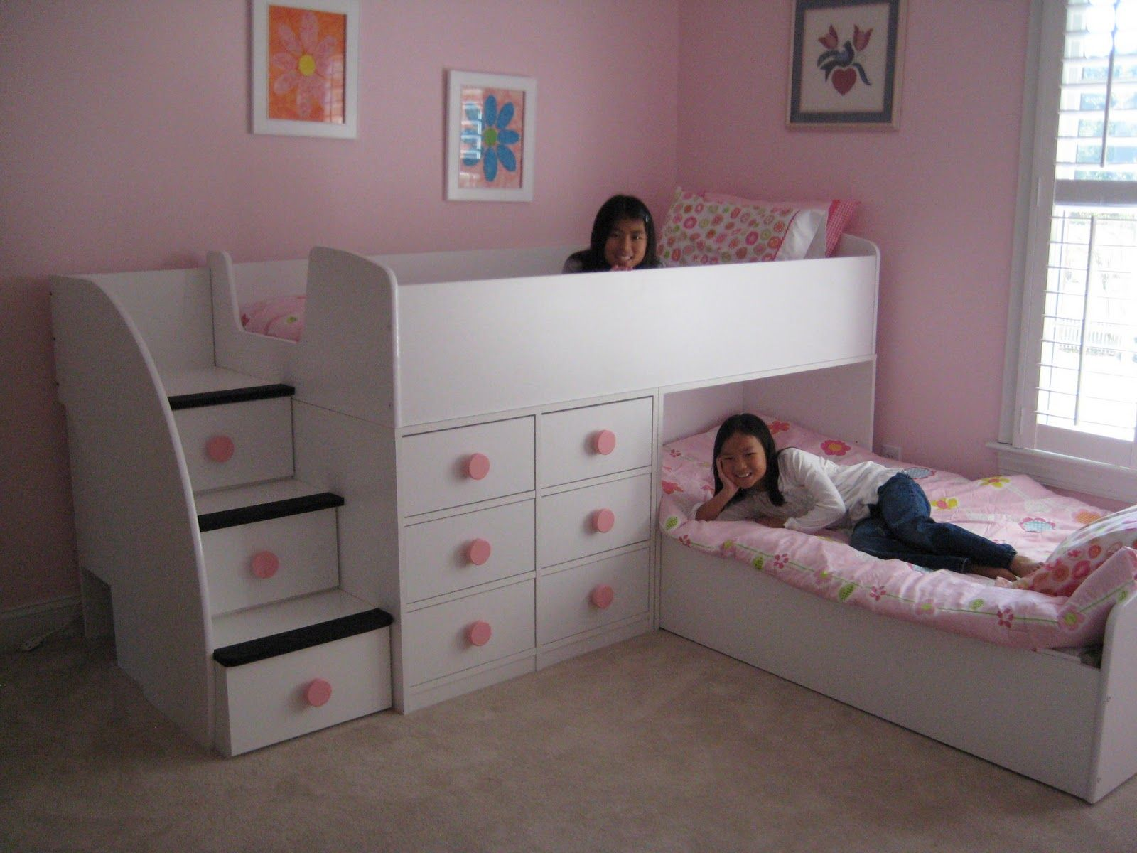 Appealing Teenage Girl Bedroom with Four Bunk Beds and White ...