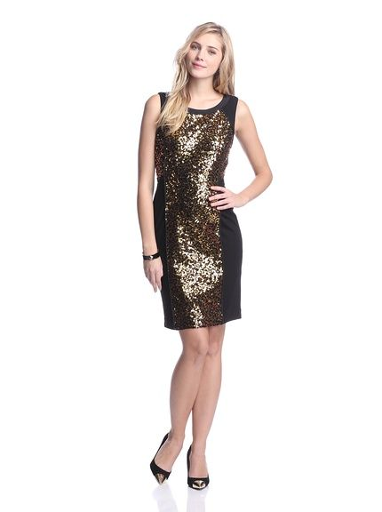 Nue By Shani Ponte Dress With Sequins Stretch Ponte Knit