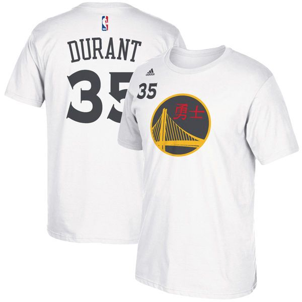 cd3205194 Kevin Durant Golden State Warriors adidas Chinese New Year Name   Number T- Shirt - White