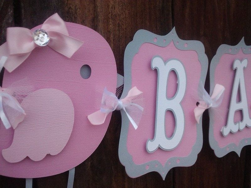 Bird Baby Shower Banner pink and gray by SweetBugABoo on Etsy