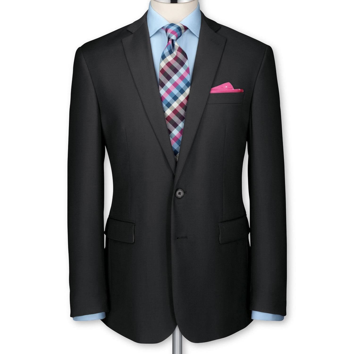 Black twill tailored fit 2 button suit | Men's business ...