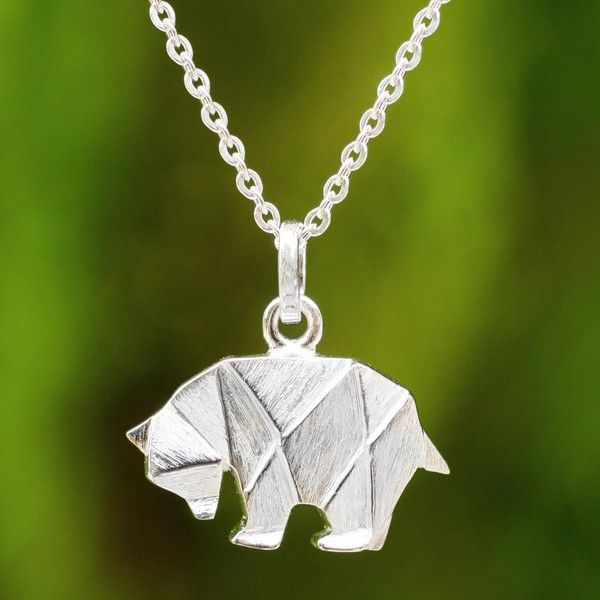 Novica brushed silver bear pendant necklace in origami style 30 novica brushed silver bear pendant necklace in origami style 30 liked on polyvore aloadofball Images