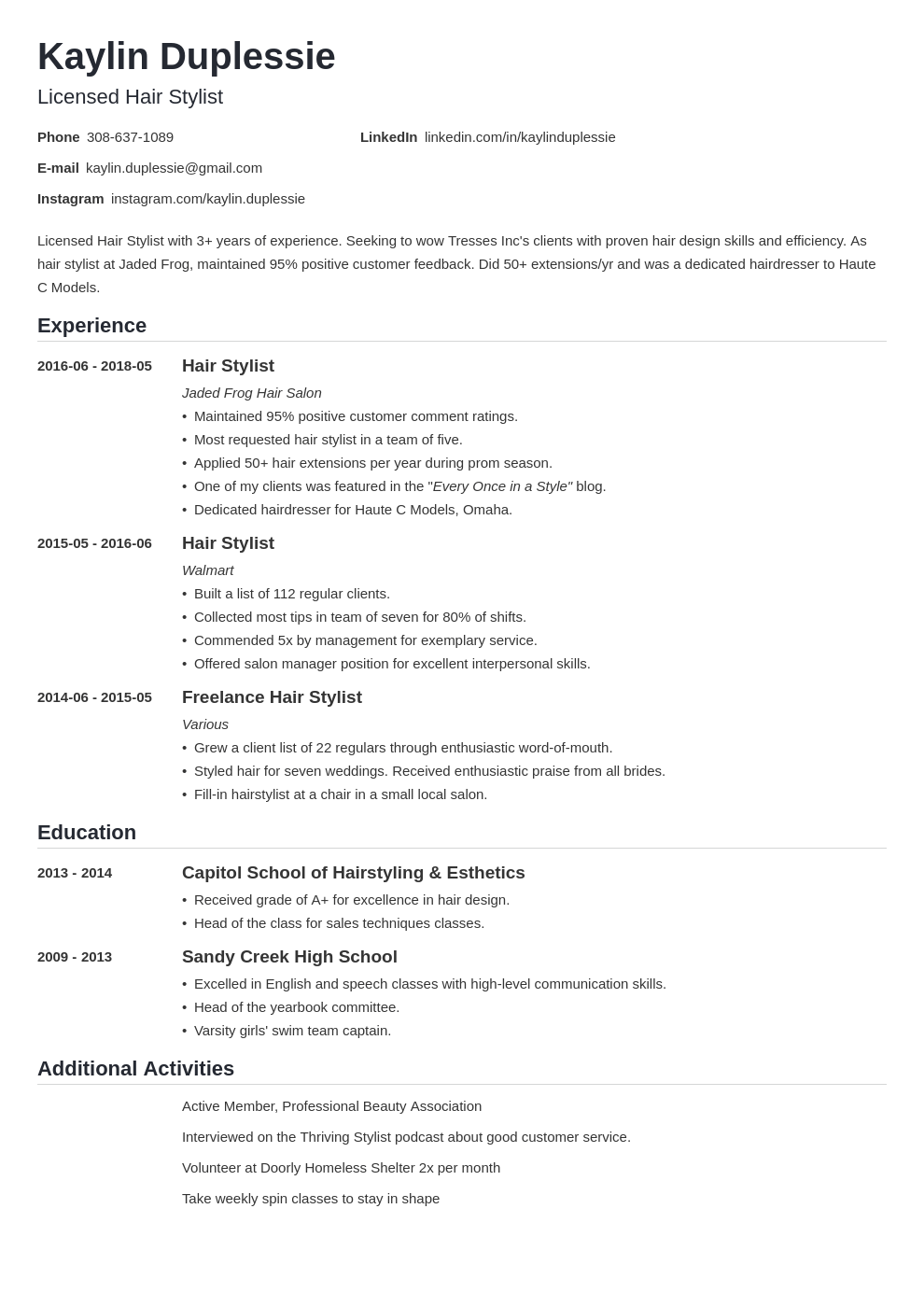 hair stylist resume example template nanica in 2020