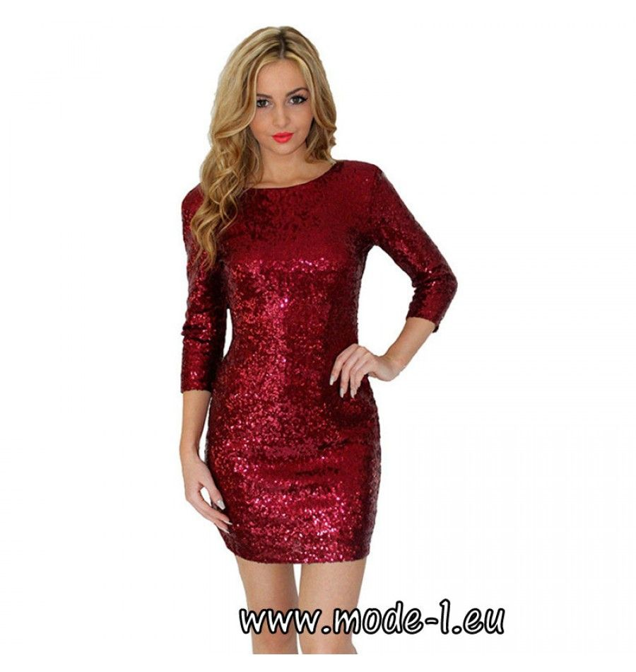 Kurzes Pailletten Kleid Party Kleid mit Ärmel in Rot | Pailletten ...